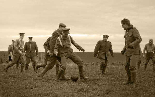 This modern reenactment of the soccer games that supposedly took place in the middle of no man's land gets shared a lot on social media by credulous people who think it's genuine, but historians doubt this part of the story is true at all